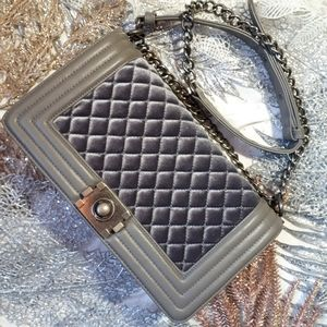 Sergio Feretti Velvet Quilted Faux Leather Purse